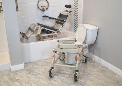 TubBuddy Tilt SB2T chair in bathtub tilted and bridge removed